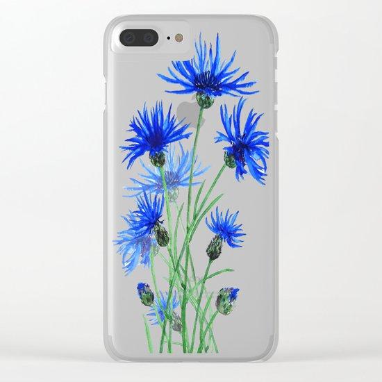 blue cornflower Clear iPhone Case