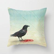 freedom  _ black crow Throw Pillow