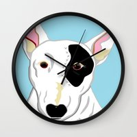 bull terrier Wall Clocks featuring Bull Terrier by EloiseArt