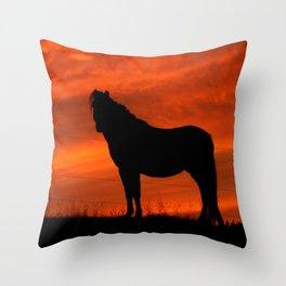 sunset horse Throw Pillow