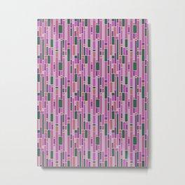 Retro Mid Century Pink Tiled Geometric Pattern Metal Print