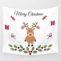 merry christmas Wall Tapestries featuring Merry Christmas by haroulita