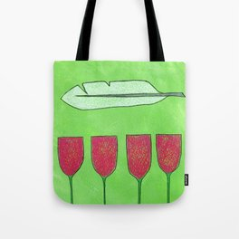 Flowers and a Feather Tote Bag