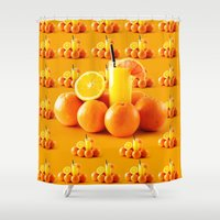 orange pattern Shower Curtains featuring Orange Pattern by Azeez Olayinka Gloriousclick