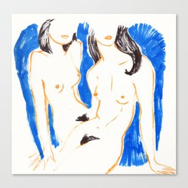 Nudes in Gold and Blue Canvas Print