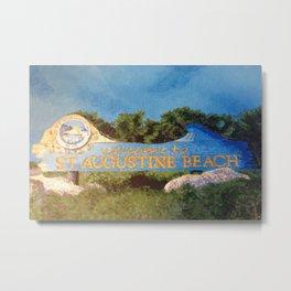 St. Augustine Beach Sign Metal Print