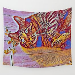Blue Wave Cat Tiger Wall Tapestry