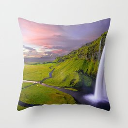 waterfall, seljalandsfoss, iceland, scenic, landscape Throw Pillow