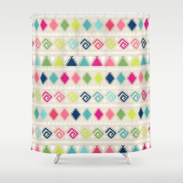 Vintage white faux leather colorful aztec tribal Shower Curtain