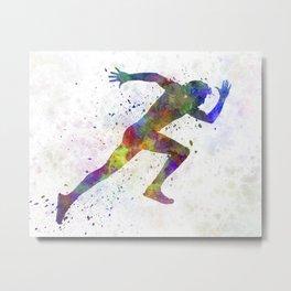 Man running sprinting jogging Metal Print