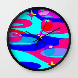 Planets and Stars in Jewel Tones Wall Clock