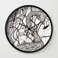 rare Wall Clocks featuring Rare Bird by Shanna Duncan