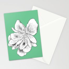 Sketchy Malva Flower Drawing (green back) Stationery Cards