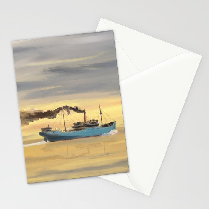 Steamship Freighter heading towards the ocean Stationery Cards