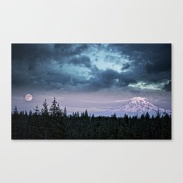Mount Rainier's Moon Canvas Print