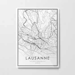 Lausanne City Map Switzerland White and Black Metal Print