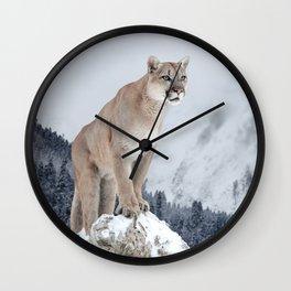 Portrait of a cougar. Wall Clock