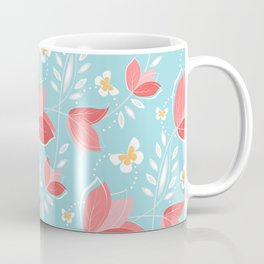 Romantic Chic Coral Retro Floral Pattern Turquoise  Coffee Mug