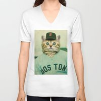 baseball V-neck T-shirts featuring Baseball Cat by Luigi Tarini