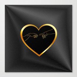 Creation of Adam inside a golden heart and metallic texture Canvas Print