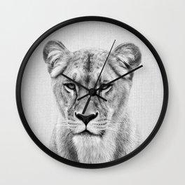 Lioness - Black & White Wall Clock