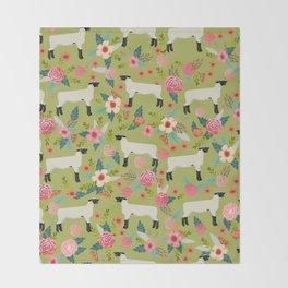 Show Lamb farm floral gifts homesteader farming sheep lamb animal Throw Blanket
