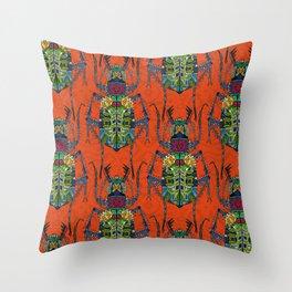 flower beetle orange Throw Pillow