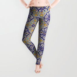 Vintage Hand-Painted Ceramic Tiles with Pomegranates and Marigolds, Netherlands (blue, yellow, green, white) Leggings