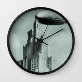 1928 Dirigible Patoka docking at the observation deck atop the Superman building in Providence RI Wall Clock
