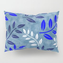 Blue and White Leaves Pattern Pillow Sham