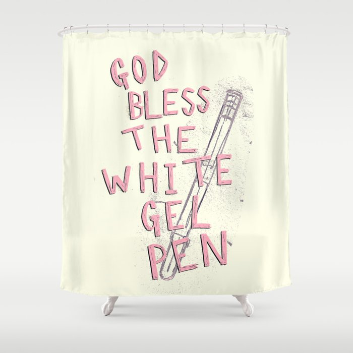 The White Gel Pen Shower Curtain