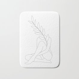 Minimal Line Art Woman with a Tropical Leaf Bath Mat