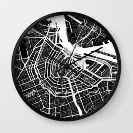 Black City Map of Amsterdam, Netherlands Wall Clock