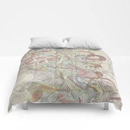 Beautiful Map of the Lower Mississippi River Comforters