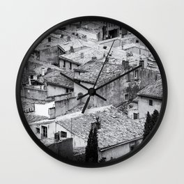 Romantic Lookout | Rooftops, France | Black & White Photography | Travel & Street Photography | Photo Print | Art Print Wall Clock