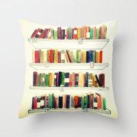 books Throw Pillows featuring Books by Ela Caglar