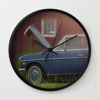 mercedes Wall Clocks featuring Old blue Mercedes by Katie Jean Images