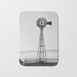 Windmill #blackandwhite Bath Mat