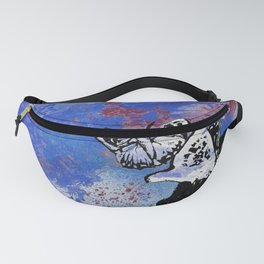 Long Gone Whisper III: Blue (butterfly girl spray paint graffiti painting) Fanny Pack