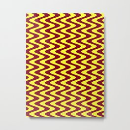 Electric Yellow and Burgundy Red Vertical Waves Metal Print
