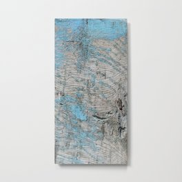 Peeled Blue Paint on Wood rustic decor Metal Print
