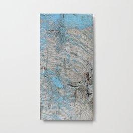 Peeled Blue Paint on Wood rustic decor Metal Print