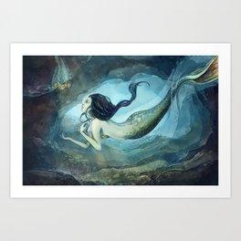 mermaid treasure Art Print