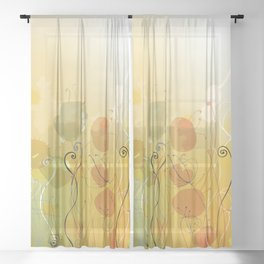 Floral Abstract Line Art Print Design Sheer Curtain