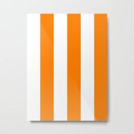 Wide Vertical Stripes - White and Orange Metal Print