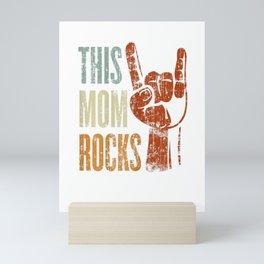 Womens This Mom Rocks Rock n Roll Metal T-Shirt Gift for Mother Mini Art Print