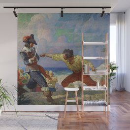 """""""The Duel on the Beach"""" by NC Wyeth Wall Mural"""