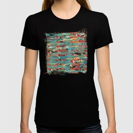 Goodbye Wave Abstract Art Collage T-shirt