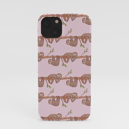 Lazy Baby Sloth Pattern in Pink iPhone Case