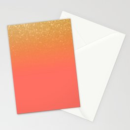 Living Coral Gold Glitter Stationery Cards